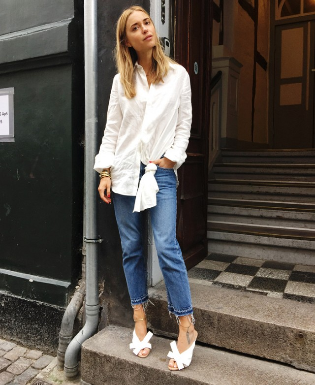 how to wear a button-down shirt with jeans