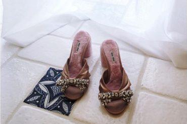 MIU MIU Crystal-embellished satin and shearling mules