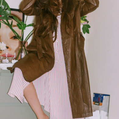 brown leather coat outfit